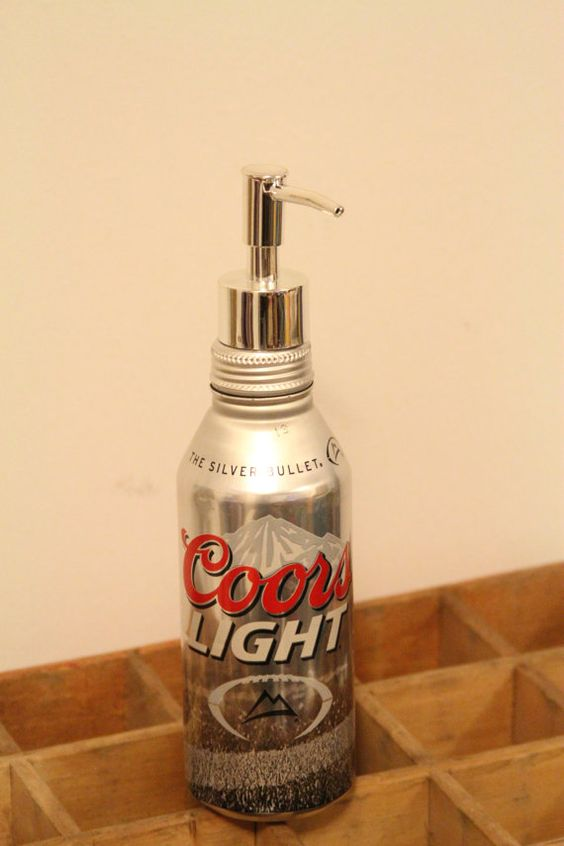 Coors Light Soap or Lotion Pump Dispenser Aluminum Bottle, The Silver Bullet Upcycled Bathroom Decoration on Etsy, $10.00