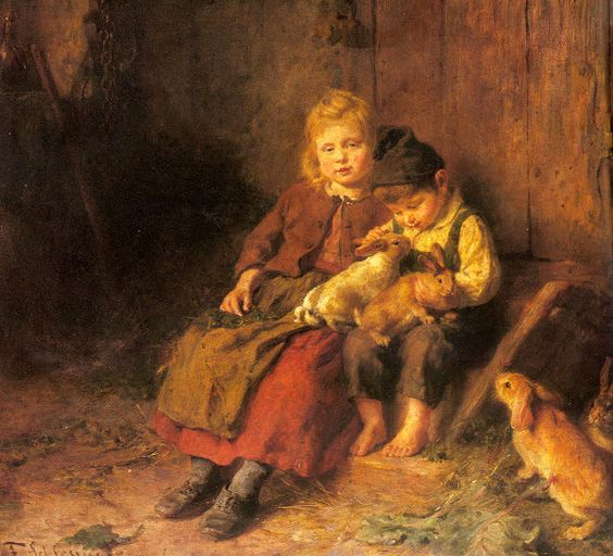 Two Children Playing With Rabbits