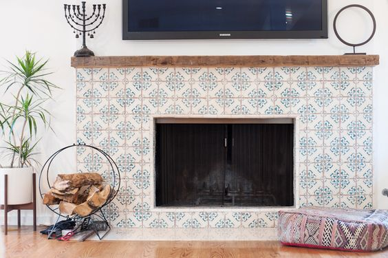 Fireplace in kitchen. Cement tile, flush hearth, and natural wood mantle. (I want a thicker mantle though)