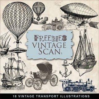 Vintage Transportation Illustrations -  Freebies