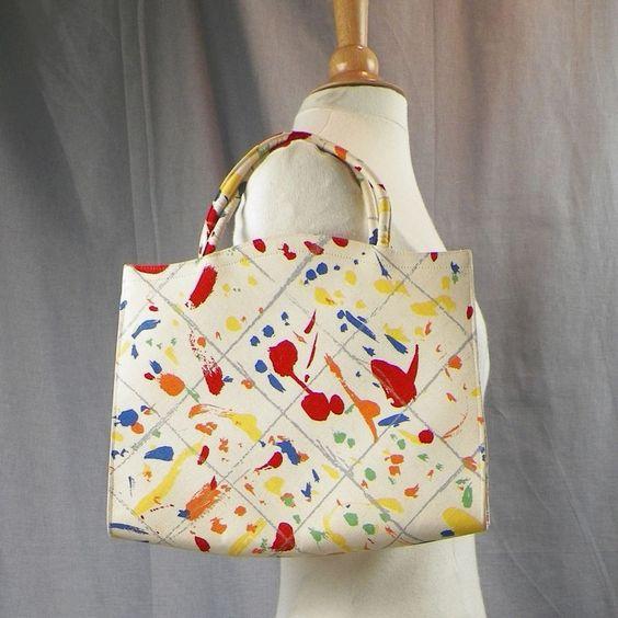 Vintage Margaret Smith Purse Tote Bag Splatter Paint Multi Color ...