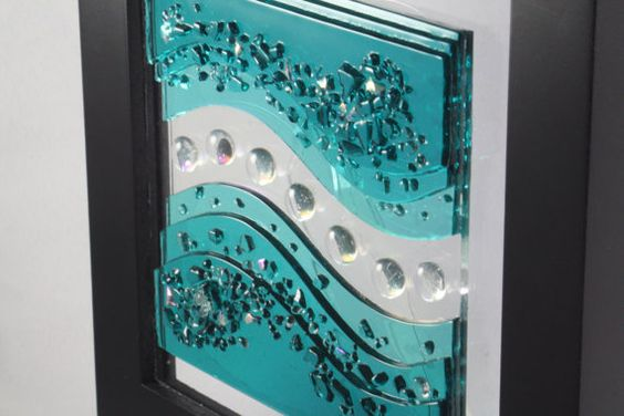 Fuse Glass Wall Art Caribbean Blue Waves by JMFusions on Etsy