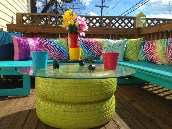 11 Super Cool DIY Backyard Furniture Projects • Lots of Ideas and Tutorials! Including, from 'madcap frenzy', this cool upcycled tire coffee table.