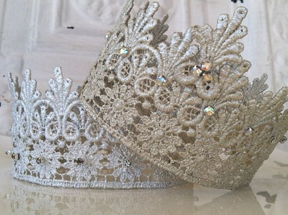 Lace Rhinestone Crowns by StunningByDesign on Etsy, $25.00