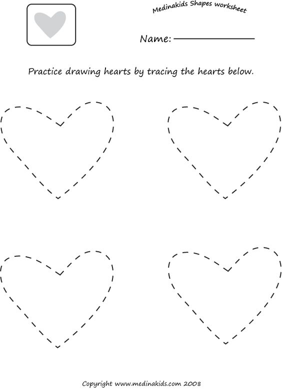 tracing hearts shape worksheet homeschooling pinterest alphabet worksheets heart shapes. Black Bedroom Furniture Sets. Home Design Ideas