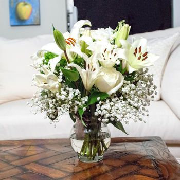 White flowers in silver mason jars; White Mountain Bouquet (Grower's Choice)- 10 Bouquets, 150 Stems item # 795265,