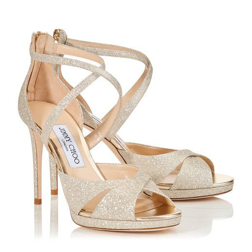 Jimmy Choo Lorina 100 Glitter Sandals Wedding Shoes Sandals For Sale