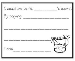 "Student slip for ""Have you filled a bucket today?"""