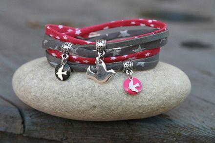"""Bracelet cordon liberty et cuir 2 tours """"envolée"""" fuchsia gris argenté : Bracelet par lillicrapote"""