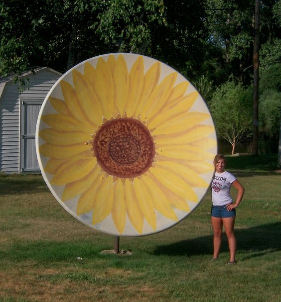 Paint that old satellite dish satellite dish craft for Craft ideas for old dishes