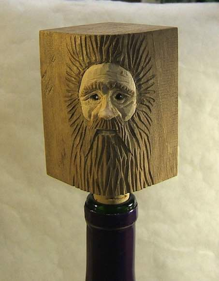 Handmade Wood Spirit Unique Wine Bottle by ClaudesWoodcarving