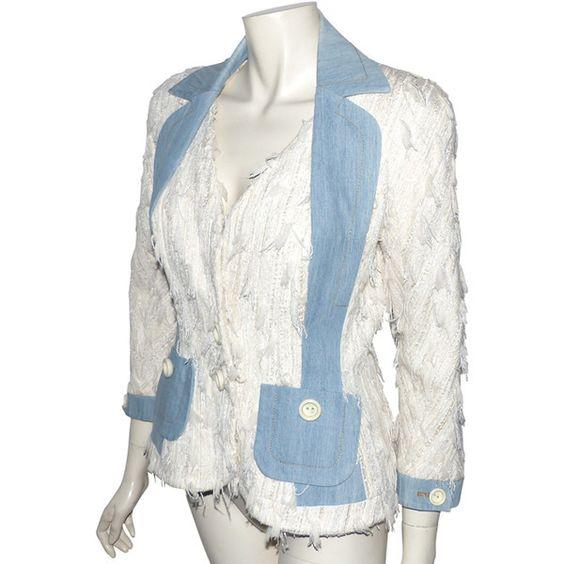 depot vente de luxe en ligne CHRISTIAN DIOR veste en viscose et soie ivoire poches jeans - On sale eshop luxe www.tendanceshopping.com