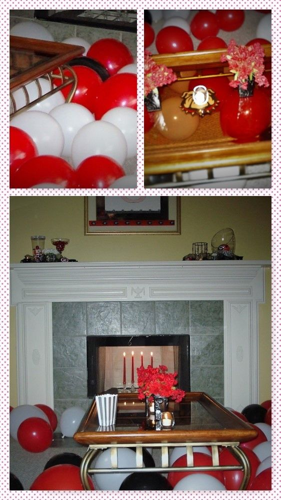 Dollar Tree balloons and candlesticks are inexpensive and make a fun touch to this party.  The Bulldog picture was printed out and attached to the underside of the table.