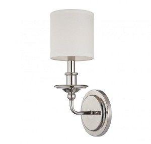 One Light Satin Nickel White Shade Wall Light - Savoy House 9-1150-1-SN