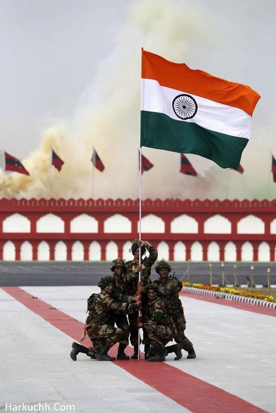 Indian army holding Indian national flag: