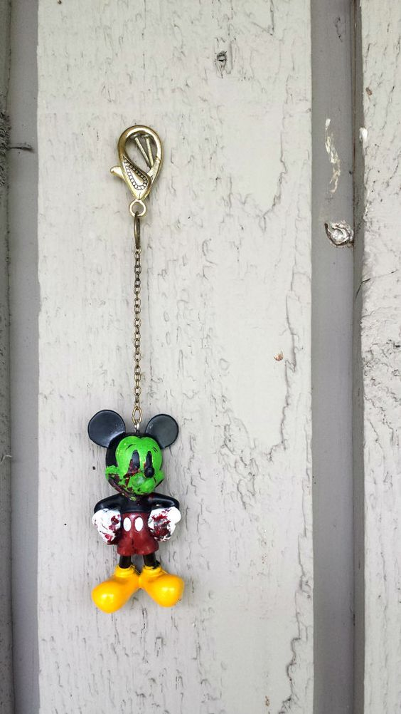 Zombie Mickey Mouse Key Chain by ZeeesCloset on Etsy, $5.00