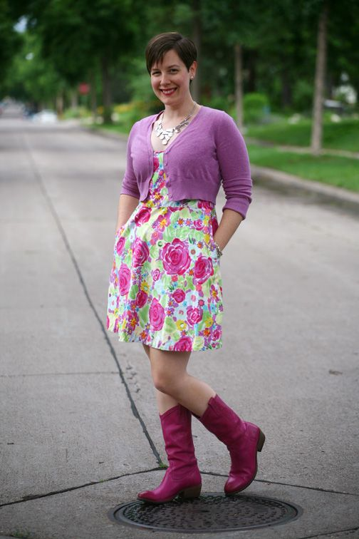 Already Pretty outfit featuring lavender cropped cardigan, floral sundress, pink Frye Carson Pull-on boots, statement necklace