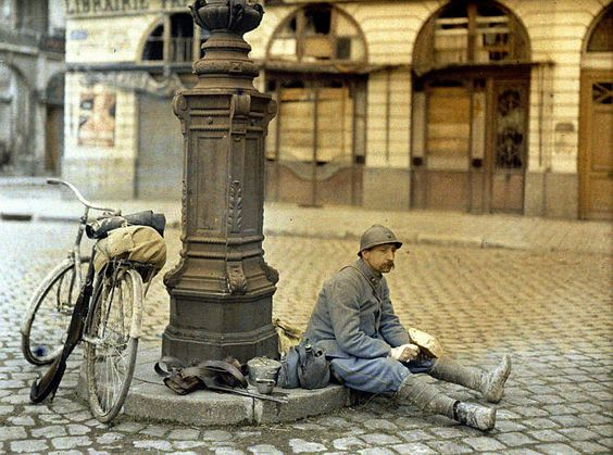 A French soldier has lunch in front of a deserted library in Reims. Description from emgn.com. I searched for this on bing.com/images