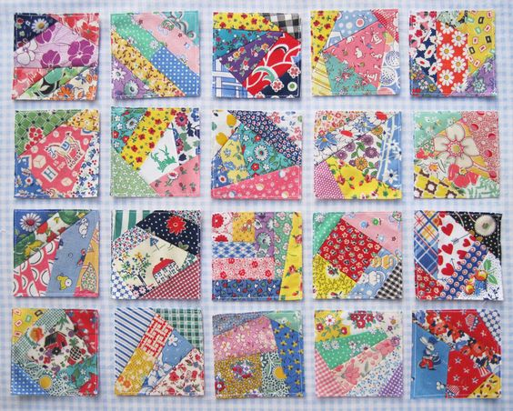Crazy-Quilt-Blocks - odd bit blocks - stash buster - great for Linus Project quilts