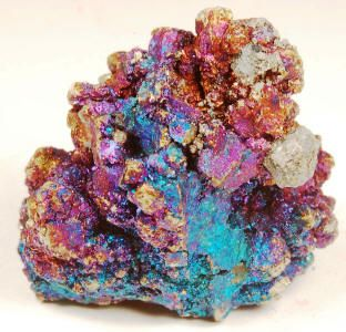 11hedwil    ((CHALCOPYRITE)),  $5 MINIMUM  BID, Sweetwater Mine, Viburnum Trend District, Reynolds County, Missouri, 3.5 x 3.5 x 2.5 cm, Miniature,  Multitude of iridescent colors of blue, magenta, and golden Chalcopyrite crystals.
