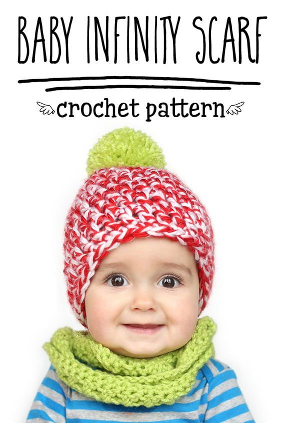 Crochet Infinity Scarf Pattern For Child : FREE Baby & Toddler Sized Infinity Scarf Crochet Pattern ...