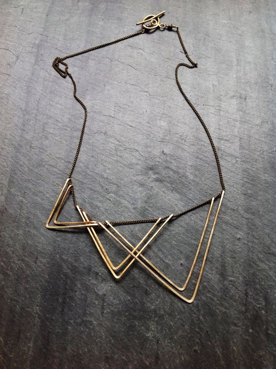 Gold Geometric Sails Necklace-By Loop Jewelry-14K Gold-fill Geometric-Sterling Silver Geometric-Portland Jewelry-Hammered Jewelry-Triangle