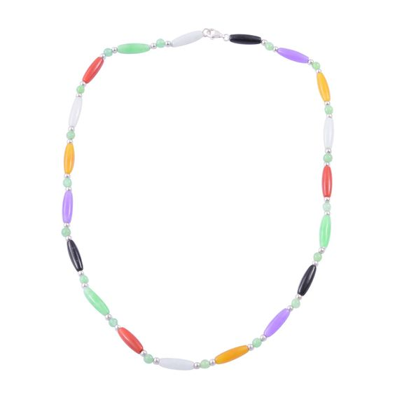 Treasures from the Orient Multi Color Jade Necklace (18 in) in Sterling Silver Nickel Free TGW 78.50 Cts.