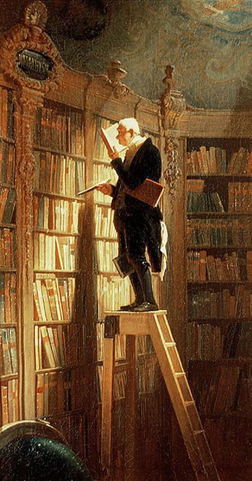"""Carl Spitzweg. """"The Bookworm"""" I have this hanging in my family room."""