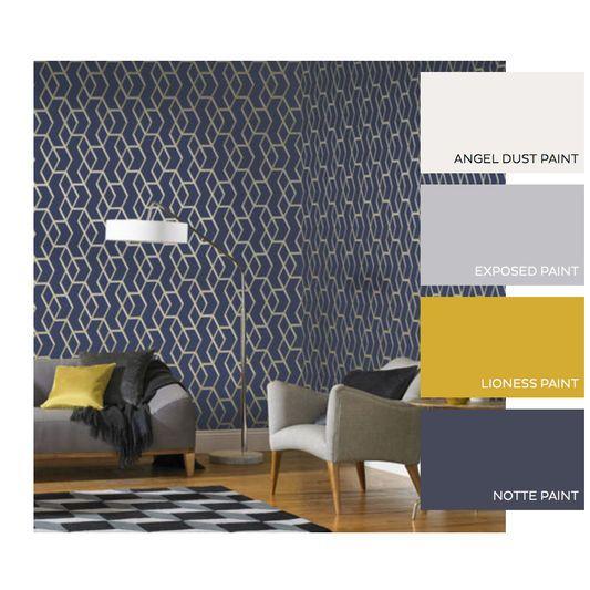 Archetype Navy Gold Wallpaper Blue Room Decor Navy Gold Bedroom Color Palette Living Room