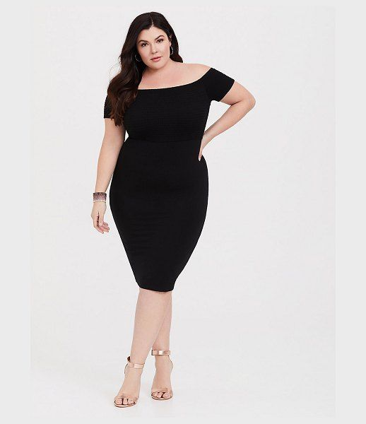 Torrid Black Jersey Off Shoulder Bodycon Dress | Plus Size ...