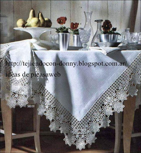 Crochet ganchillo patrones graficos mantel tejido a - Mantel de crochet ...