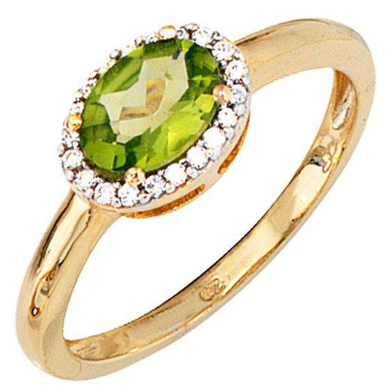 Damen Ring 585 Gold Gelbgold 20 Diamanten 1 Peridot grün Goldring A40624 56