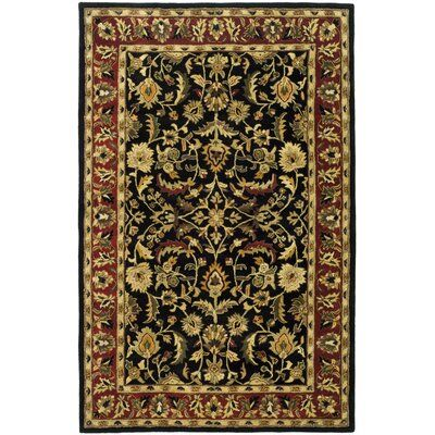 Charlton Home Cranmore Hand Tufted Wool Black Red Green Yellow