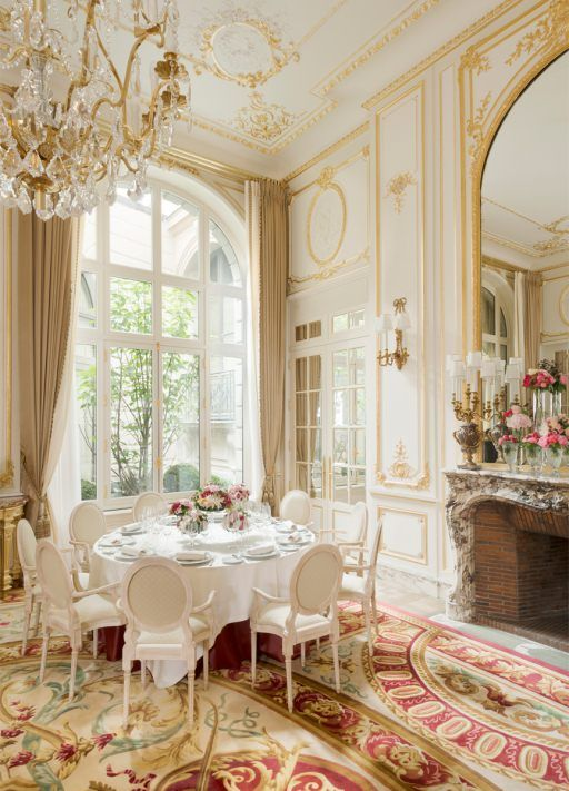 Ritz Paris dining room with luxurious French provincial decor #ritzparis #paneledwalls #French