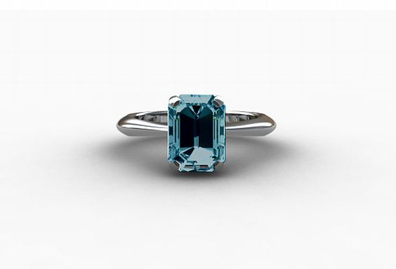 2.56ct London blue topaz engagement ring made from 18k White Gold by TorkkeliJewellery, $1949.00