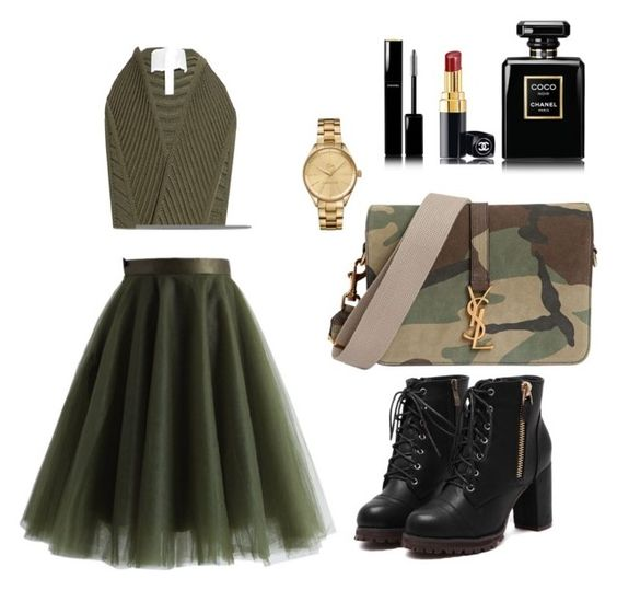 """""""Untitled #145"""" by mariyana666 ❤ liked on Polyvore featuring Chicwish, Yves Saint Laurent, Jonathan Simkhai, Lacoste and Chanel"""