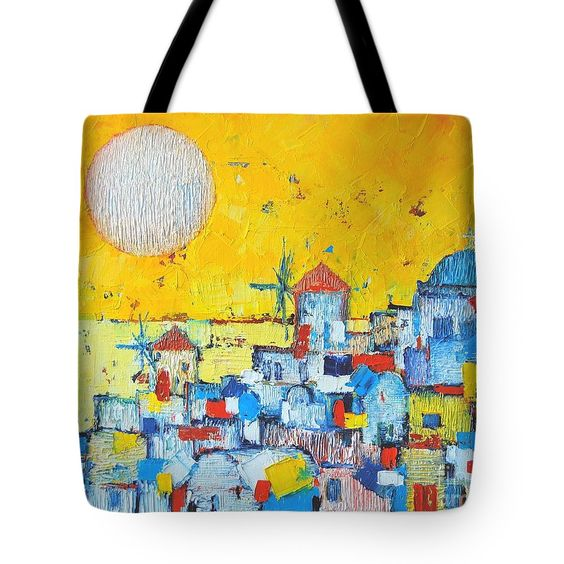Santorini Tote Bag featuring the painting Abstract Santorini - Oia Before Sunset by Ana Maria Edulescu