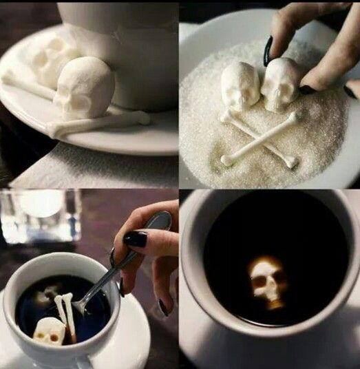 Skull sugar cubs for your coffee or tea!