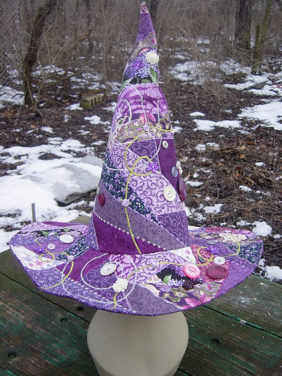 "Purple Patchwork  Crazy Quilt Witch Hat with Buttons Size ""L"". $65.00, via Etsy."