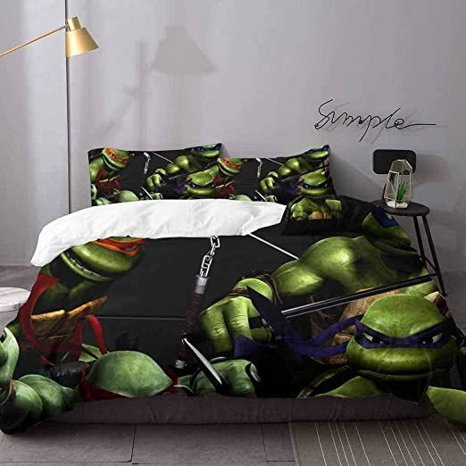 Hunttynan 1 Duvet Cover And 2 Pillowcases Teenage Mutant Ninja Turtles Light Weight Microfiber Duvet Cover Set Bedding 3 Piec Duvet Cover Sets Bedding Sets Bed