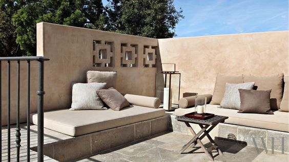 Our own home owes its inspiration to my family's pleasurable travels in Provence and the long and lunches we enjoyed under the sycamores in Aix. #outdoorliving #Provence #Provencal #builtin #sofas