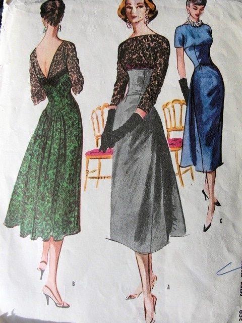1950s Evening Cocktail Dress Pattern Stunning Low V Back