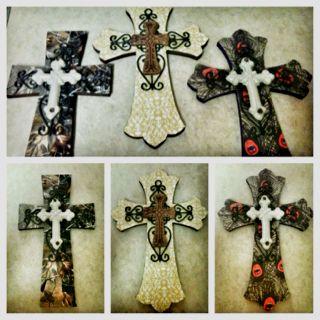 Mod podged crosses.... Great gift idea.