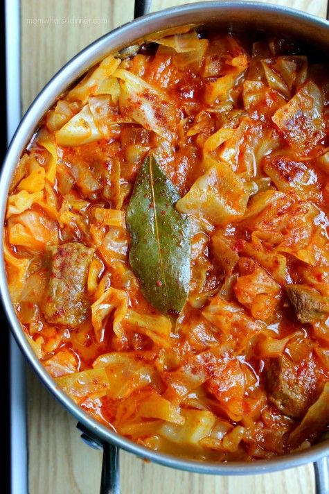 Grandma's Albanian Cabbage  Stew – Mish me Lakra on http://momwhats4dinner.com/cabbage-stew/