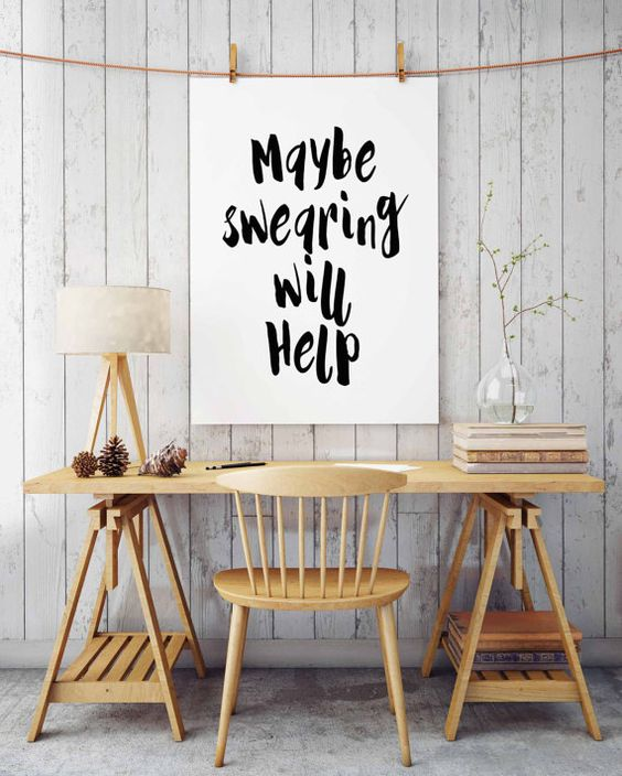 "Humorous print, ""Maybe swearing will help"", Black and White printable, Swear quote, Office wall decor, Funny print, Humorous print, Wall art"
