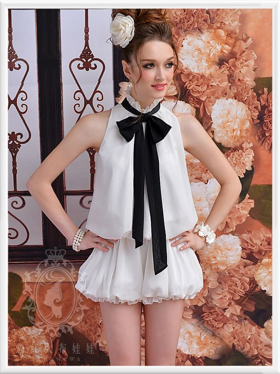 Mouse over image to zoom  Sweet Cute Lolita Chiffon White Sleeveless jumpsuit Shorts Shirt + Black Tie S~L