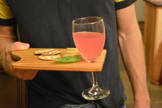 Party plate set of two.  Holds your wineglass to por BandyWoodworks, $25.00