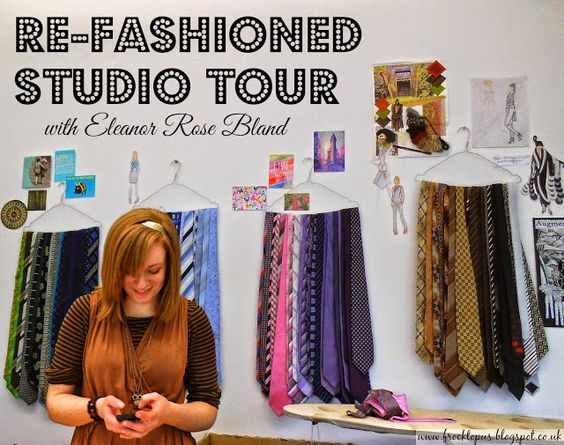 Tour of eco-designer Eleanor Blands studio, she makes amazing tie weaving clothes and goes by Re-Fashioned www.frocktopus.blogspot.co.uk