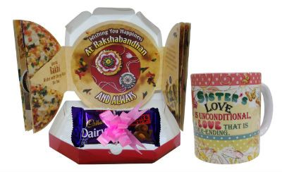 Rakhi Gift For Sister  Colorful Coffee Mug Pack Of 3 Dairy Milk Chocolate 38gm each Pizza Shape Greeting Card
