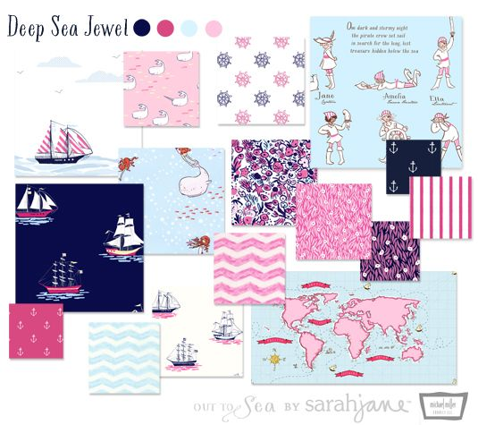 Out to Sea in deep sea jewel by Sarah Jane. Love those girl pirates. Also love how she does not distinguish her collections with boy or girl names, they are just different colorways. No gender discrimination here!